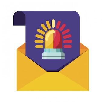 Carta abierta con mensaje alarma iconos aislados