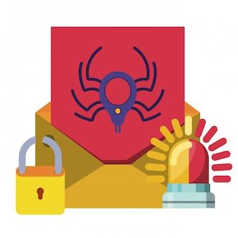 Carta abierta con el mensaje araña iconos aislados