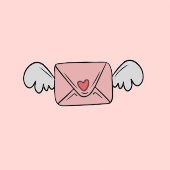 Carta de amor con alas símbolo ilustración vectorial de san valentín