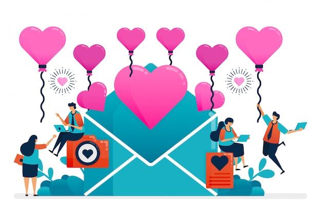 Carta de amor para pareja en el día de san valentín, boda, compromiso. globo de corazón rosa.