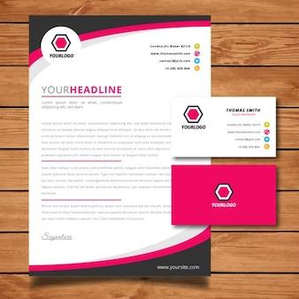 Carta con membrete rosa y tarjeta de visita