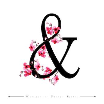 Carta de invitación de la boda y fondo floral acuarela