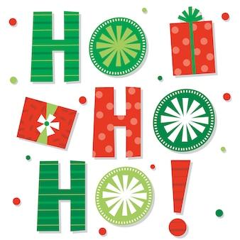 Carta decorativa de navidad ho ho ho con color rojo y verde