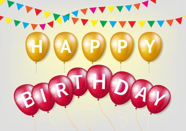 Carta de feliz cumpleaños en globo de brillo rojo y amarillo