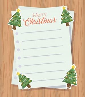 Carta de feliz navidad con árbol de navidad