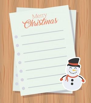 Carta de feliz navidad con lindo personaje de muñeco de nieve