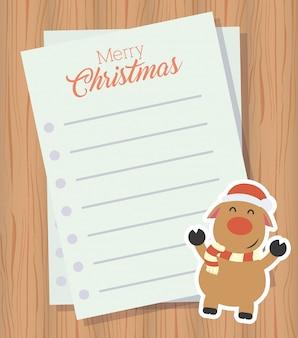 Carta de feliz navidad con lindo personaje de renos