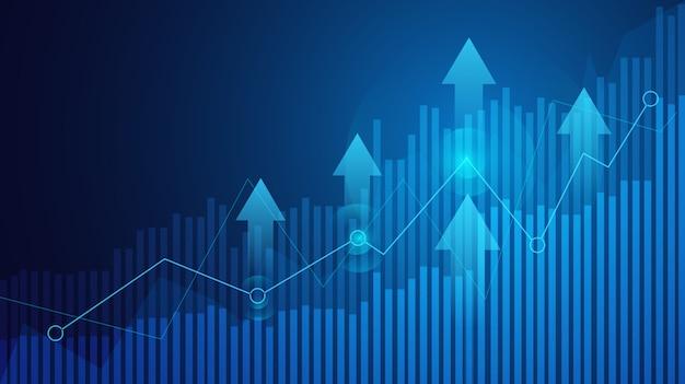 Carta del gráfico del palillo de la vela del negocio del comercio de inversión del mercado de valores en fondo azul.