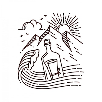 Carta en la ilustración de la línea de botella
