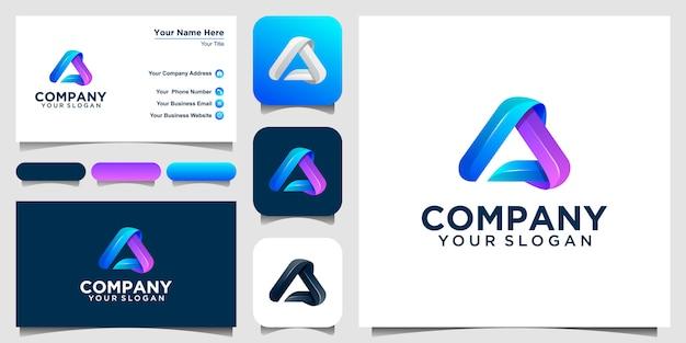 Una carta insignia colorida, elementos de plantilla de diseño. diseño de logotipo y conjunto de tarjeta de visita