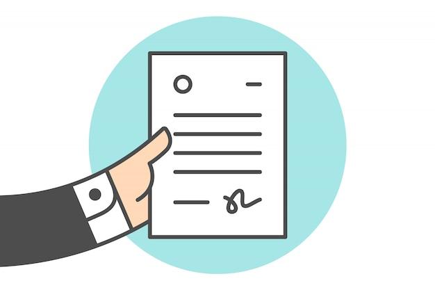 Carta en la mano del empresario