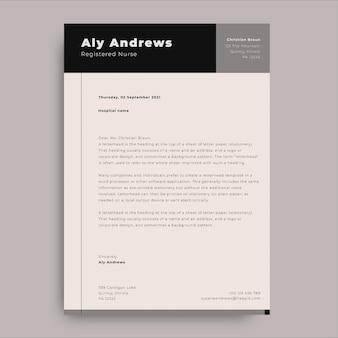 Carta médica de portada de enfermera registrada minimalista geométrica aly