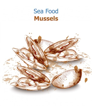 Carta de menú mejillones mariscos