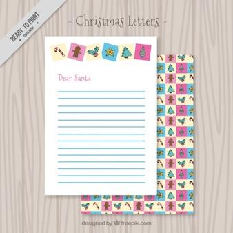 Carta de navidad bonita con elementos decorativos