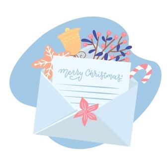Carta de navidad que sale de un sobre blanco con caja de regalo, pan de jengibre, taza y acebo, campana