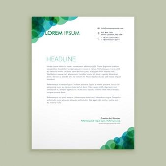 Carta de negocio con círculos verdes