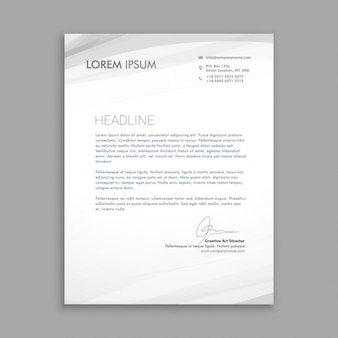 Carta de negocio con ondas grises