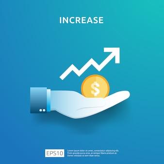 Carta de negocios en mano. aumento de la tasa salarial de ingresos. margen de crecimiento gráfico de ingresos.
