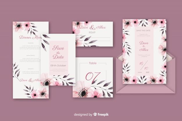 Carta de papelería y sobre para boda en tonos violetas
