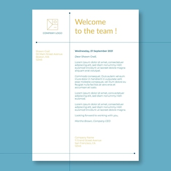 Carta de presentación comercial a bordo de bienvenida de duotono minimalista