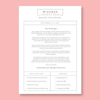 Carta de presentación del gerente de miranda de cuadrícula simple