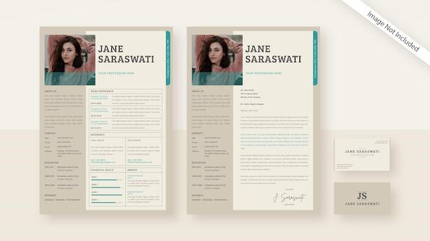 Carta de presentación y tarjeta de presentación de cv de color beige claro