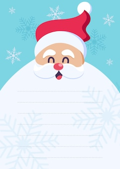 Una carta a santa claus. postal de feliz navidad