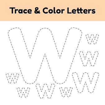 Carta de seguimiento para niños de preescolar y jardín de infantes. escribe y colorea w.
