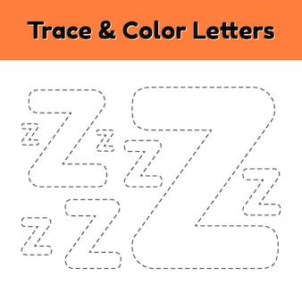 Carta de seguimiento para niños de preescolar y jardín de infantes. escribe y colorea z.