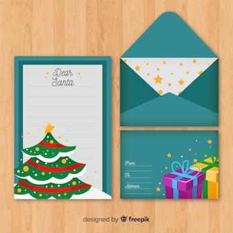 Carta y sobre con motivos navideños