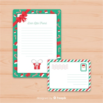 Carta y sobre de navidad