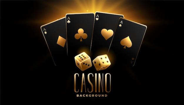 Cartas de casino negras y doradas con fondo de dados