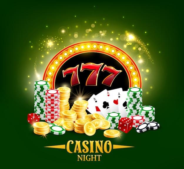 Cartas y dados de póker del casino, noche de juego de jackpot