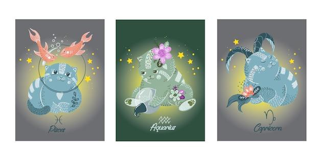 Cartas de dibujos animados del zodiaco con personajes de gatos.