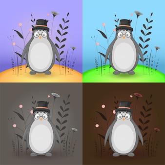 Cartas infantiles con un lindo pingüino en un campo de color diferente. colección infantil.