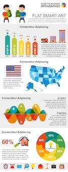 Cartas infográficas coloridas concepto de bienes raíces o finanzas conjunto