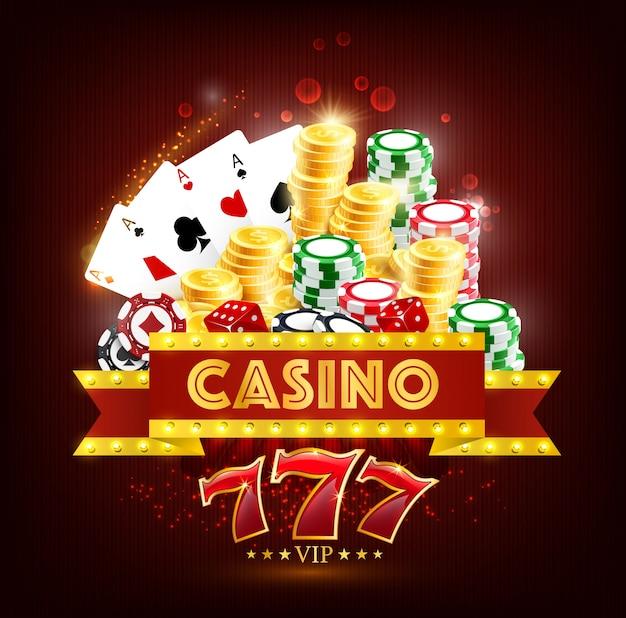 Cartas de juego de póker de casino, dados, fichas y monedas.