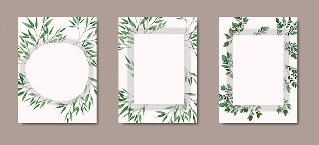 Cartas con marco geométrico y hojas de laurel.