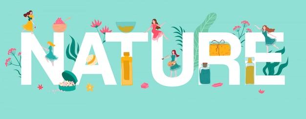 Cartas de la naturaleza, cosméticos orgánicos a base de hierbas y pequeñas muchachas hermosas, ilustración de plantas y hierbas para la medicina natural.
