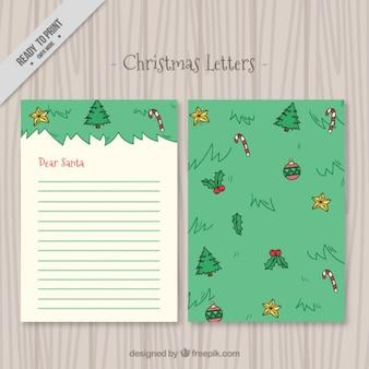 Cartas de navidad con elementos dibujados a mano