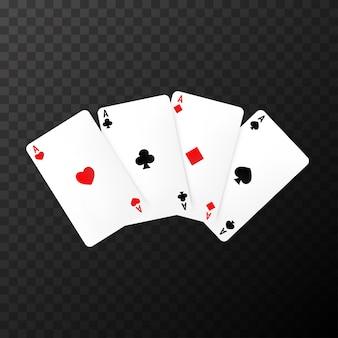 Cartas de póquer simples en el transparente