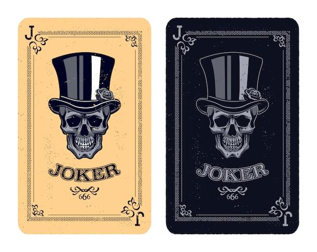 Cartas de póquer vintage con calavera