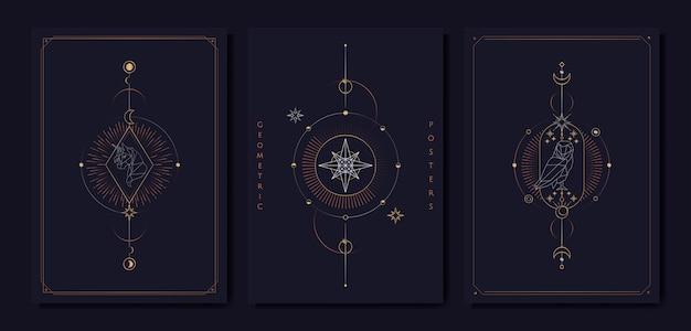 Cartas del tarot de símbolos astrológicos geométricos