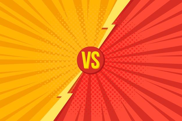 Las cartas versus vs luchan con fondos en estilo pop art comics retro con medios tonos