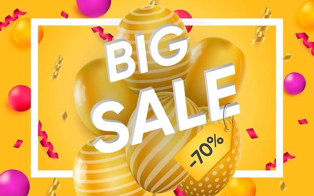 Cartel 3d de gran venta hasta un 70 por ciento de diseño realista ilustración de publicidad