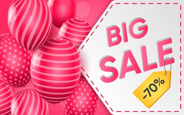 Cartel 3d de gran venta al 70 por ciento de descuento en la ilustración de diseño realista de publicidad