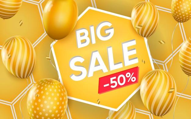 Cartel 3d de gran venta, ilustración de diseño realista de publicidad.