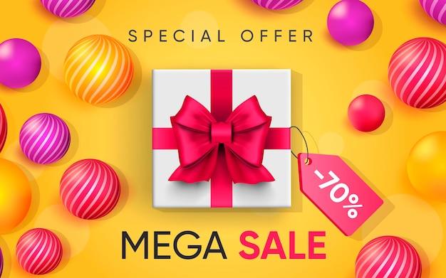 Cartel 3d de mega sale ilustración de diseño realista de publicidad.
