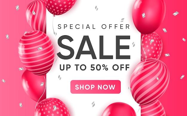 Cartel 3d de oferta especial de venta hasta un 50 por ciento de descuento en ilustración de diseño realista de publicidad
