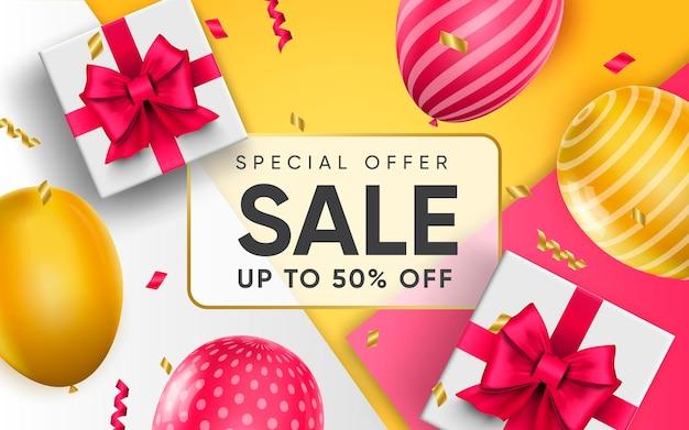 Cartel 3d de oferta especial venta de hasta 50 por ciento de descuento en precios de descuento en ilustración de diseño realista de publicidad